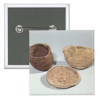Two baskets and a cover (woven palm fronds) 2 inch square button