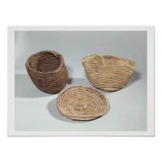 Two baskets and a cover (woven palm fronds) poster