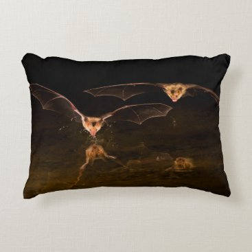 USA Themed Two bats flying over water, Arizona Decorative Pillow