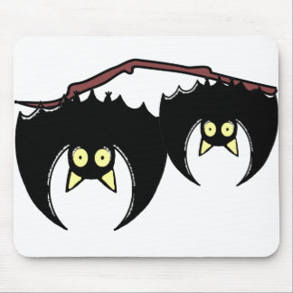 Two Bats upside down cartoon Mouse Pad
