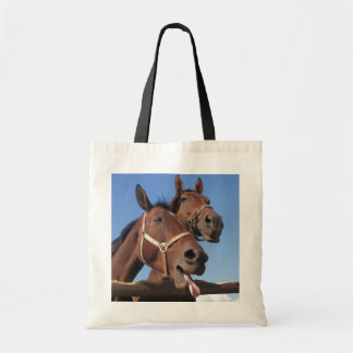 Two Bay Horses, Horse Stick Out Tongue Tote Bag