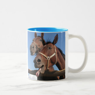 Two Bay Horses, One Sticking Out Tongue Two-Tone Coffee Mug