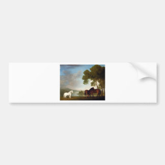 Two Bay Mares And a Grey Pony In a Landscape Car Bumper Sticker