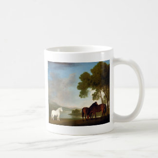 Two Bay Mares And a Grey Pony In a Landscape Coffee Mug