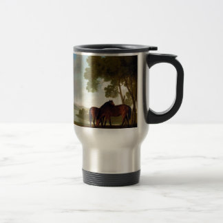 Two Bay Mares And a Grey Pony In a Landscape Travel Mug