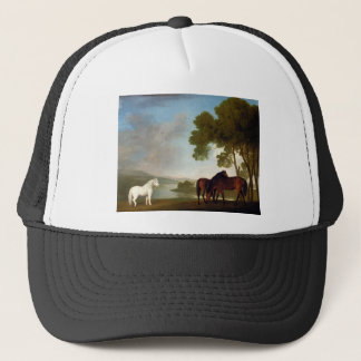 Two Bay Mares And a Grey Pony In a Landscape Trucker Hat
