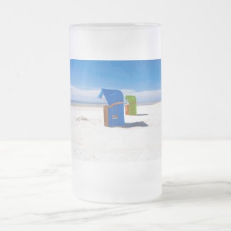 Two beach chairs at the North Sea Frosted Glass Beer Mug