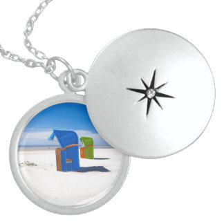 Two beach chairs at the North Sea Round Locket Necklace