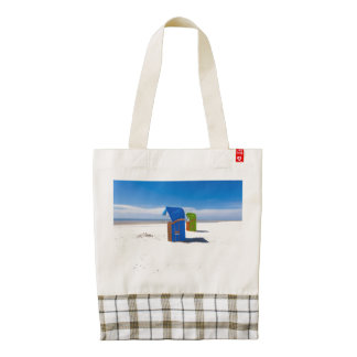 Two beach chairs at the North Sea Zazzle HEART Tote Bag
