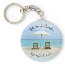 Two Beach Chairs Custom Wedding Key Ring Favors