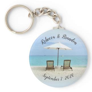 Two Beach Chairs Custom Wedding Key Ring Favors