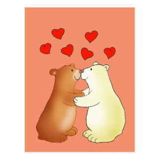 Two bears kissing and love hearts postcard