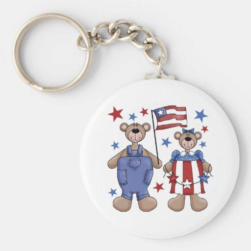 Two Bears Patriotic Keychain