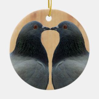 Two Beautiful Pigeons Kissing Ceramic Ornament