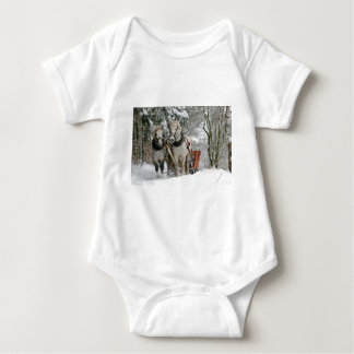 Two Beautiful white Horses drawing a Sledge Baby Bodysuit
