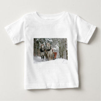Two Beautiful white Horses drawing a Sledge Baby T-Shirt