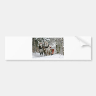 Two Beautiful white Horses drawing a Sledge Bumper Sticker