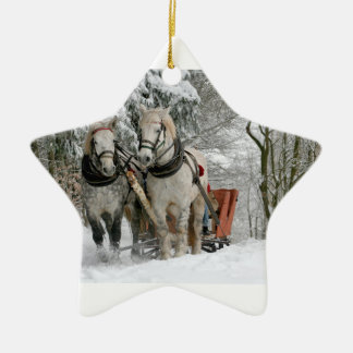 Two Beautiful white Horses drawing a Sledge Ceramic Ornament
