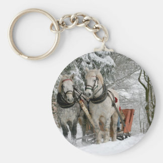 Two Beautiful white Horses drawing a Sledge Keychain