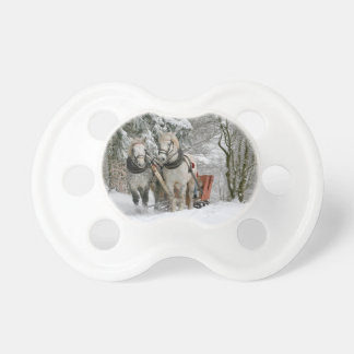 Two Beautiful white Horses drawing a Sledge Pacifier