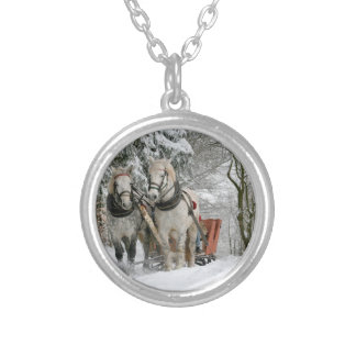 Two Beautiful white Horses drawing a Sledge Silver Plated Necklace