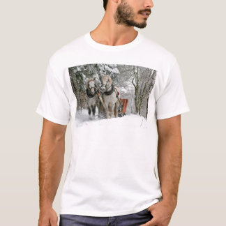 Two Beautiful white Horses drawing a Sledge T-Shirt
