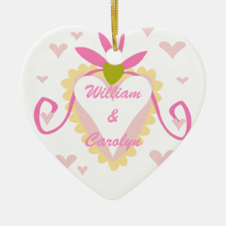 Two Became One  Customized Wedding Keepsake Double-Sided Heart Ceramic Christmas Ornament