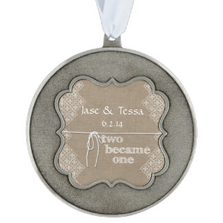 Two Became One Wedding Pewter Ornament