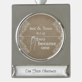 Two Became One Wedding Silver Plated Banner Ornament