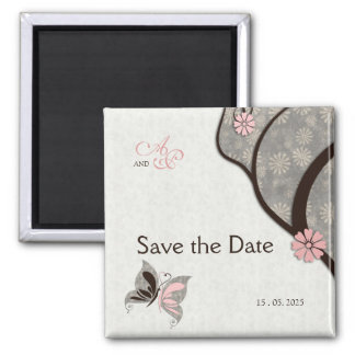Two Become One Kissing Butterflies Save the Date 2 Inch Square Magnet