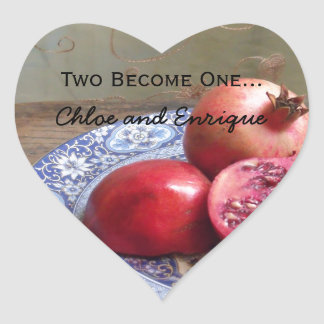 Two Become One Personalized Wedding Heart Sticker