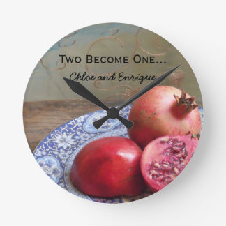 Two Become One Personalized Wedding Round Clock