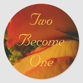 """""""Two Become One"""" - Roses in Golden Orange/Yellow Classic Round Sticker"""