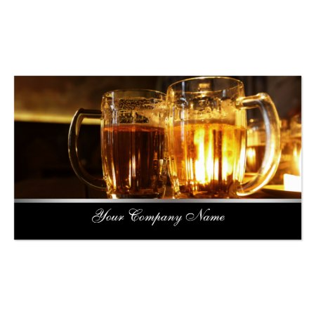 Two Glass Beer Mugs Pub or Bar Business Cards