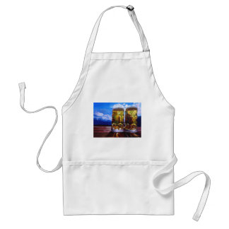 Two beers with Mountains Adult Apron