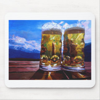 Two beers with Mountains Mouse Pad