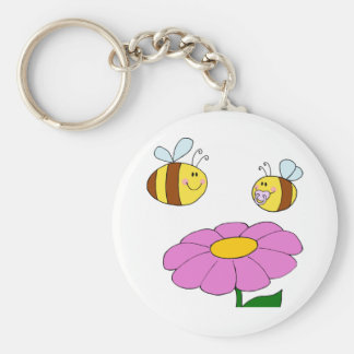 Two Bees And A Flower Keychain