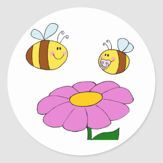 Two Bees And A Flower Stickers