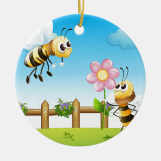Two bees inside the wooden fence ceramic ornament