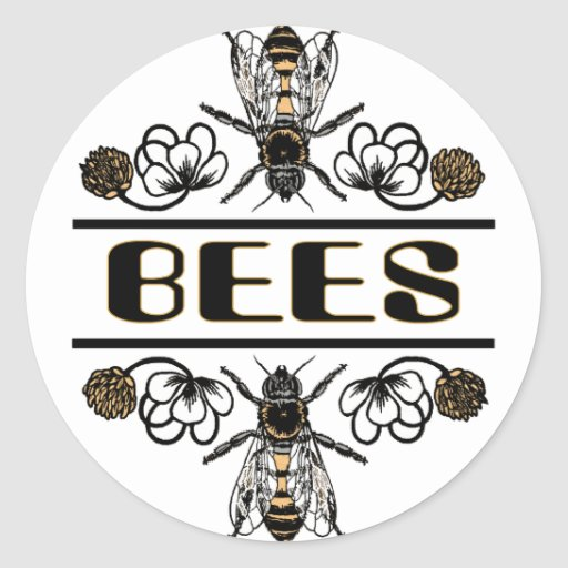 two bees with clover trans1 classic round sticker