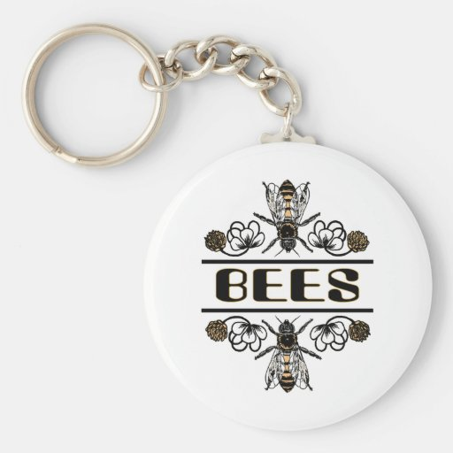 two bees with clover trans1 keychain
