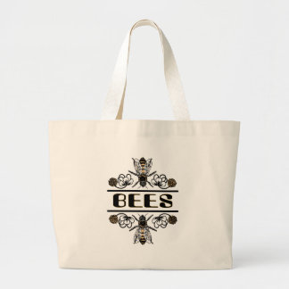 two bees with clover trans1 large tote bag