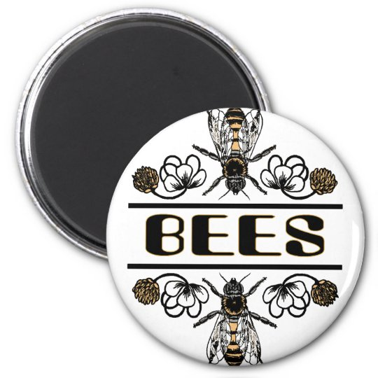 two bees with clover trans1 magnet