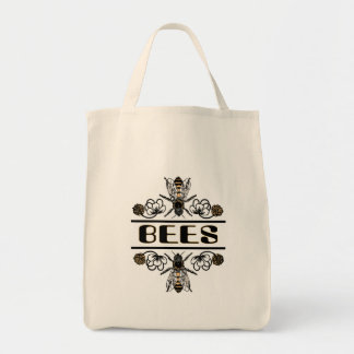 two bees with clover trans1 tote bag