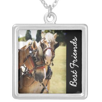 Two Belgian Draft Horse Team Pendant Necklace