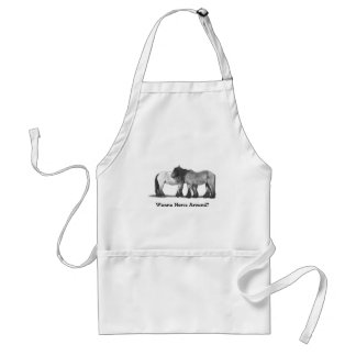 Two Belgian Horses: Pencil: Wanna Horse Around? Adult Apron