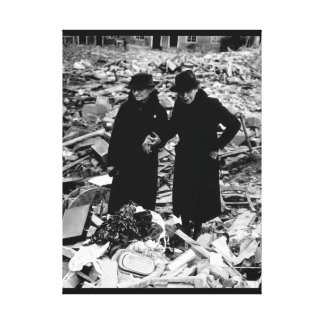 Two bewildered old ladies stand_War Image Canvas Print