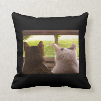 Two BFF Cats Gazing Out of The Window Throw Pillow