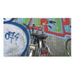 Two Bicycles and a Graffiti Wall Small Photo Card Business Card