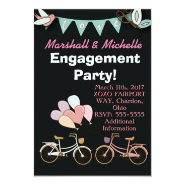 muddymomdesigns Two Bicycles Engagement Party Invitation Balloon